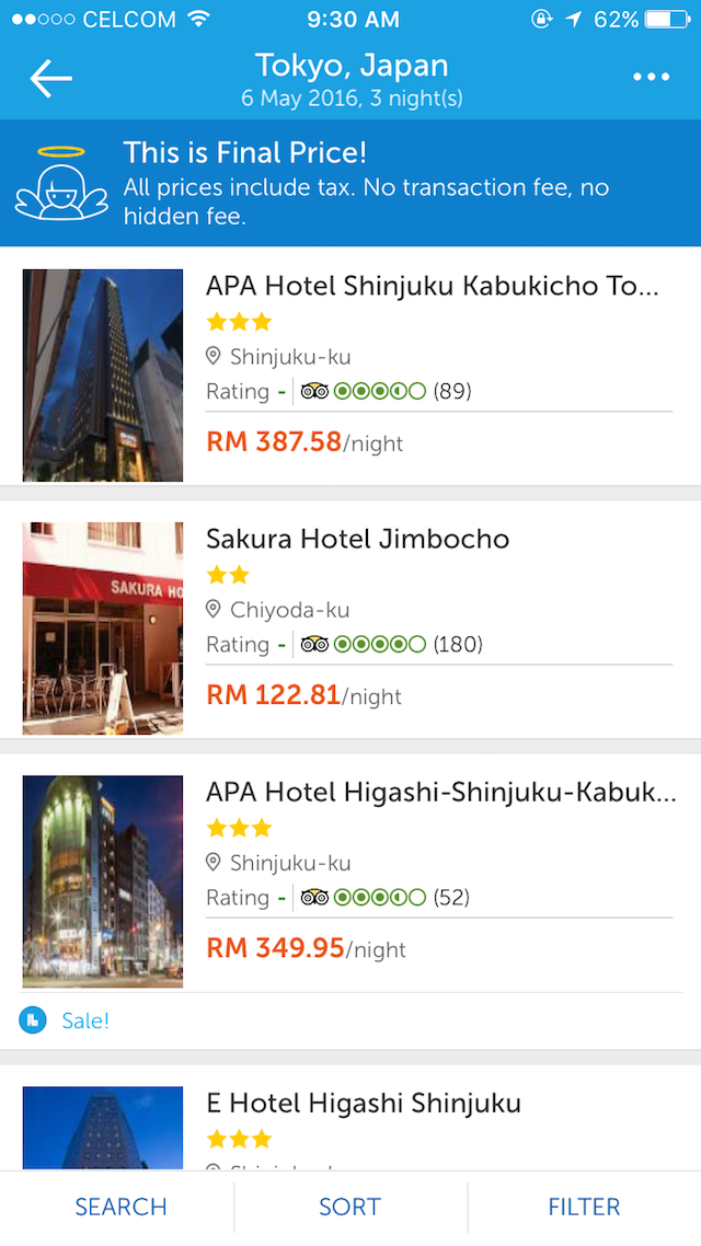 I tried booking for a hotel in Japan too, via the TRAVELOKA App, super easy!
