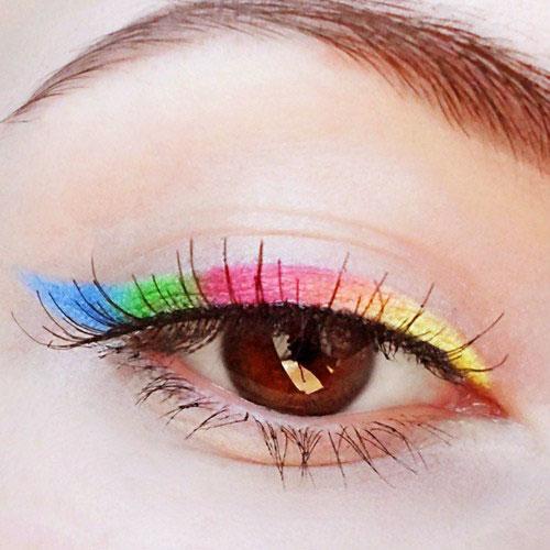 eyeliner de colores para maquillajes de ojos rainbow