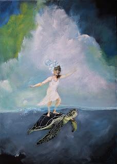kunst,art,noget til vægen,skilpadde,pige,hav,clean water,ocean,turtle,gallery,galleri,farver glade,livsglæde,bobler indeni, natur,abstrakt,figurativ