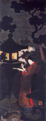A Beauty Reading Poetry by The Cherry Blossoms at Night, O-Ei Katsushika Hokusai