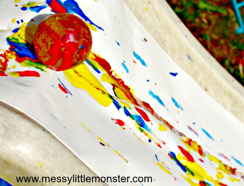 fun outdoor art idea for kids - slide painting
