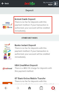 Bet9ja instant deposit