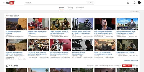 Halaman Utama situs YouTube