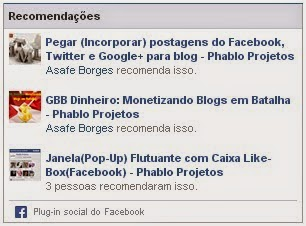 Widget lista de posts recomendados do Facebook no Blog