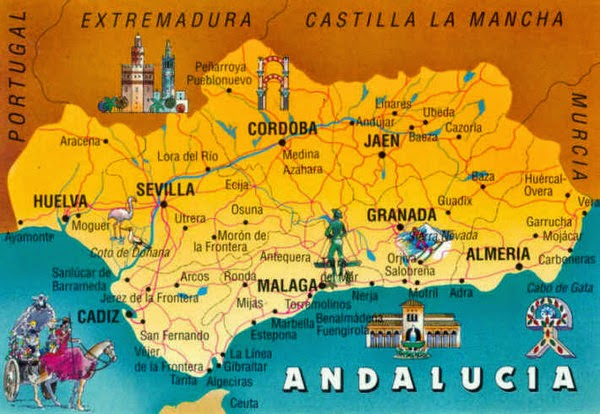 Andalucia, map, tourism