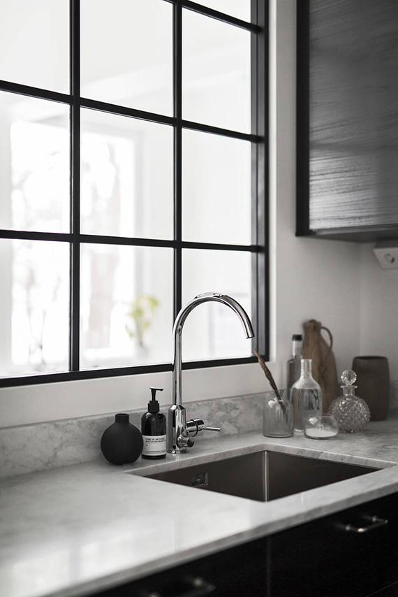Kitchen with window divider via Bosthlm
