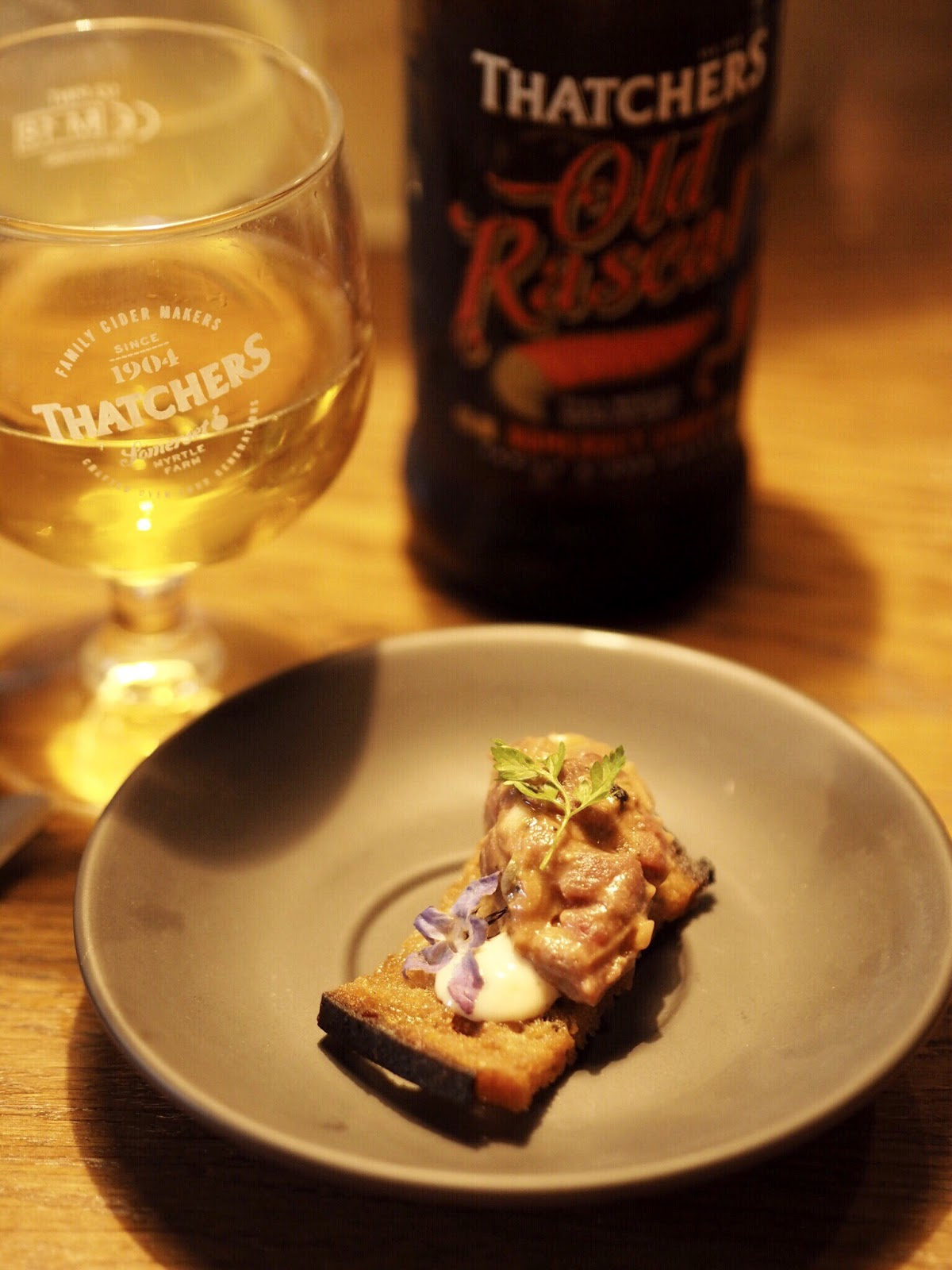 Thatchers Old Rascal with Smoked Aged Steak Tartare