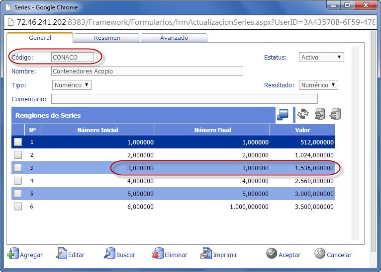 Series de Sistema - CONACO (contenedores de acopio) - eFactory ERP/CRM