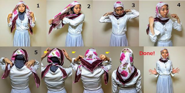 正方形のスカーフを三角形にした場合のトルコ風ヒジャブの巻き方