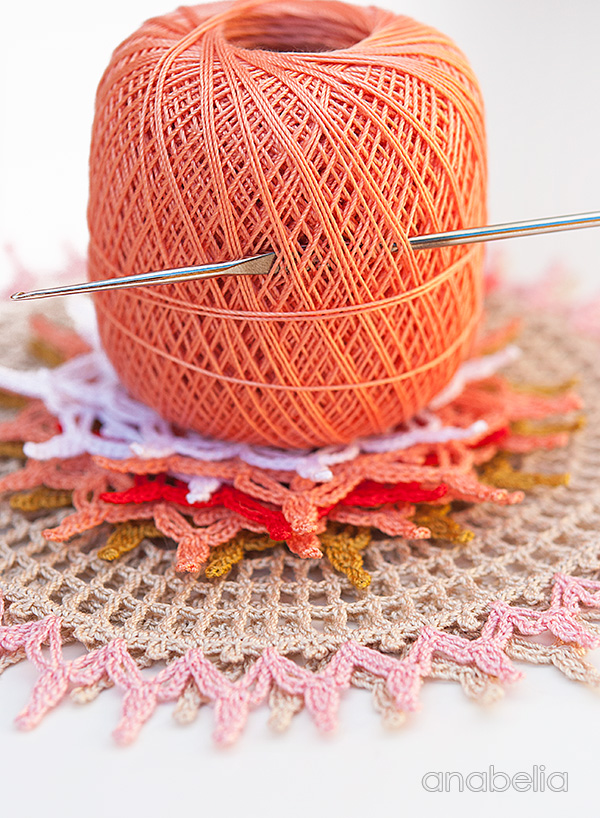 Crochet lace motifs on my work table this week, Anabelia Craft Design