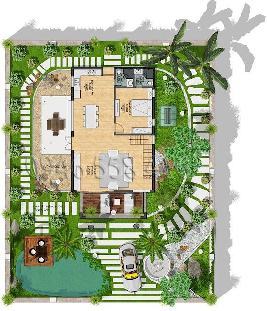 mặt bằng thiết kế tầng 1 biệt thự eco valley hồ đồng chanh