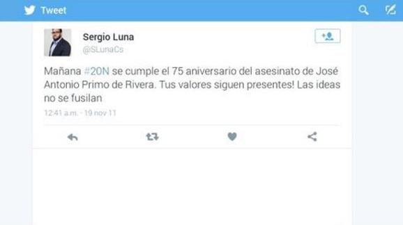 Tuit de Sergio Luna
