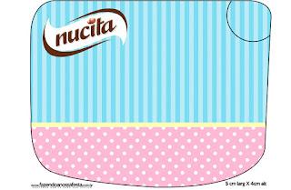 Etiqueta Nucita para Imprimir Gratis de Celeste, Rosa y Amarillo.