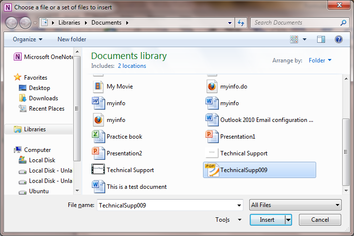 Insert Objects into OneNote 2010 ~ Microsoft Office Support