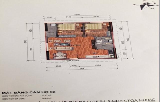 Sơ đồ thiết kế căn hộ 02 chung cư B1.3 HH03C Thanh Hà Cienco 5