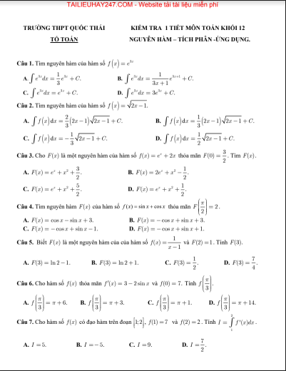 Đề kiểm tra 1 tiết chương nguyên hàm tích phân