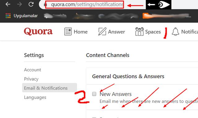 quora windows 10 tarayıcı bildirimlerini kapatma