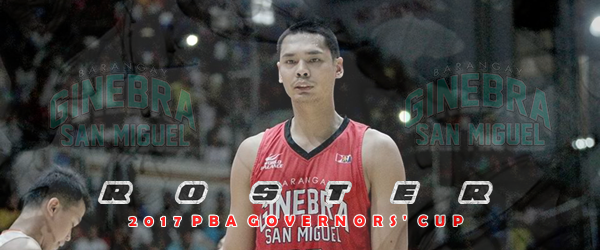List of Brgy. Ginebra San Miguel Roster 2017 PBA Governors' Cup