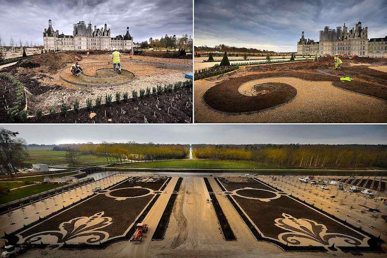 Chambord: fases da restauração dos jardins.
