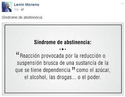 lenin moreno tuit sindrome abstinencia