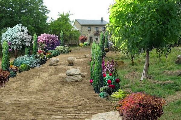 la entrada de una casa de campo guia de jardin