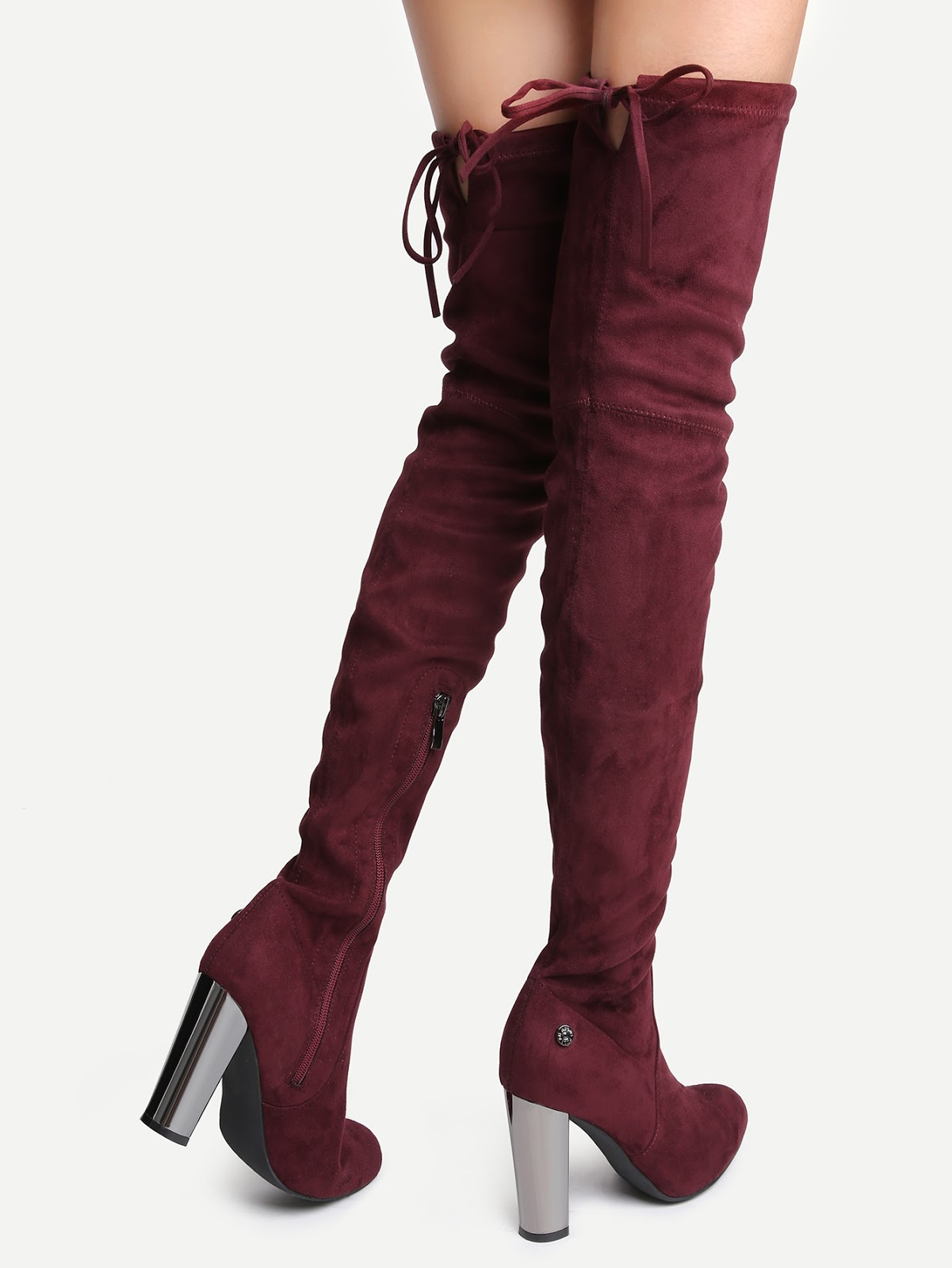 Burgundy Faux Suede Point Toe Side Zipper Over The Knee Boots
