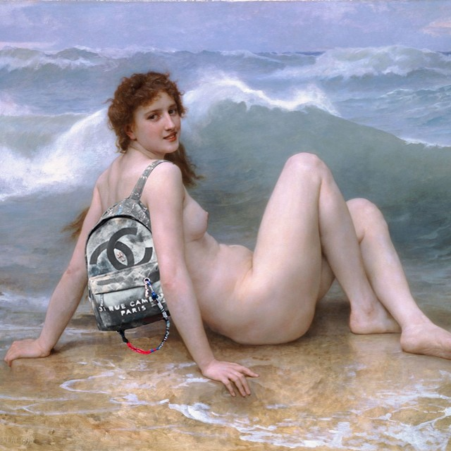 """Interlocking Seas."" Original: The Wave by William Adolphe Bouguereau. Added: Chanel Canvas Graffiti Backpack"