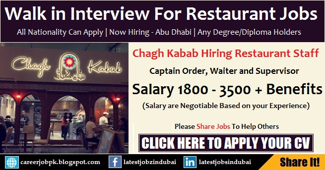 Walk in Interview in Abu Dhabi for Restaurant Jobs