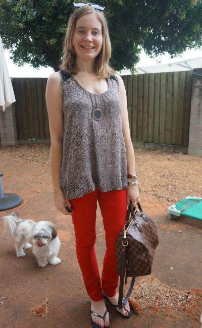Casual Autumn Outfit red skinny jeans french connection printed tank LV speedy