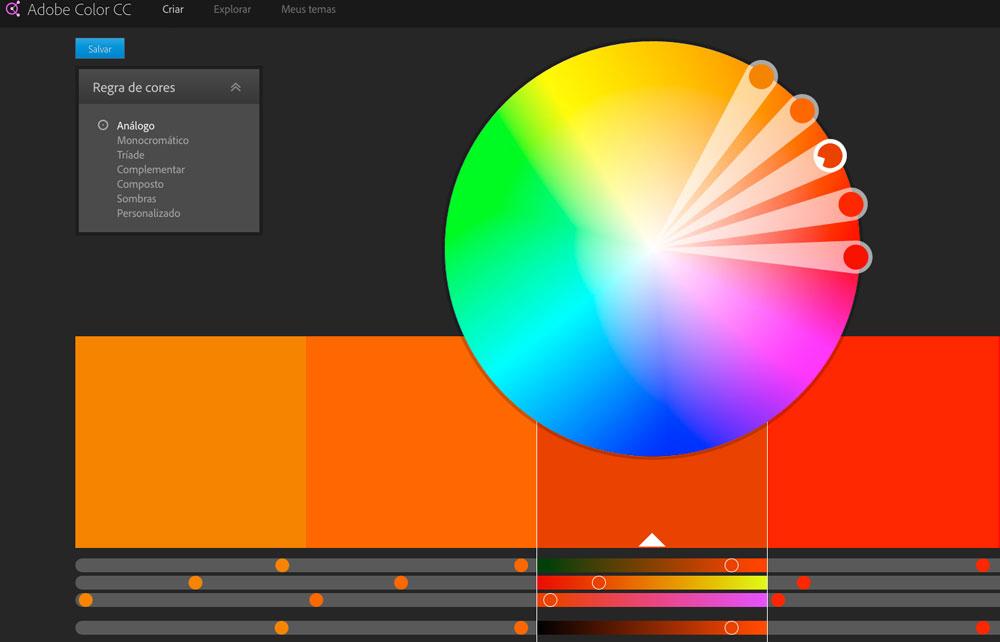 No site da Adobe você cria combinações de cores para o seu negócio