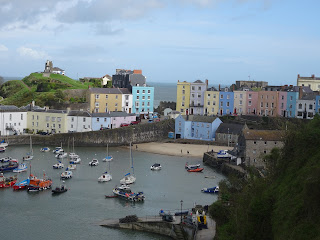 harbour view of welsh village with boats in harbour