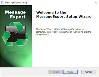 Screen image displaying, Welcome to the MessageExport Setup Wizard