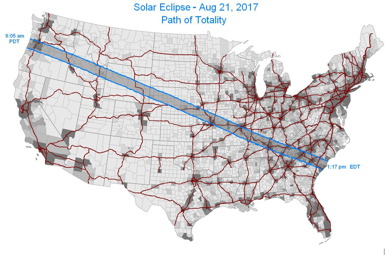 Solar eclipse path of totality overlaid on interstate map and US population density
