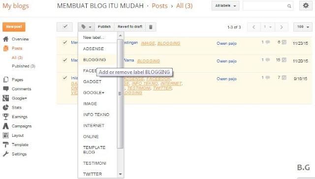 Cara Merubah Labels pada Beberapa Postingan Sekaligus