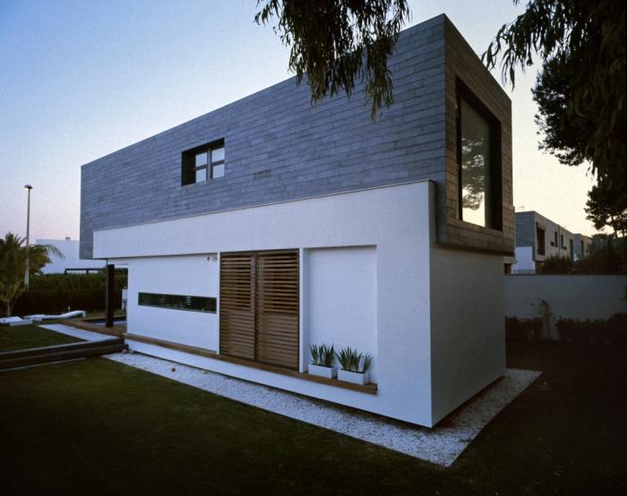 Hogares frescos 6 viviendas pareadas unidas por for Arquitectura contemporanea casas