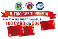 Logo ''Il Trio che ti premia'' con Quasar e Chanteclair vinci 100 card da 50€