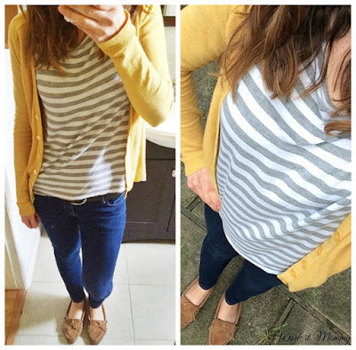 gray stripes with mustard cardigan