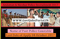 Andaman & Nicobar Police Recruitment 2017– 60 Police Constable
