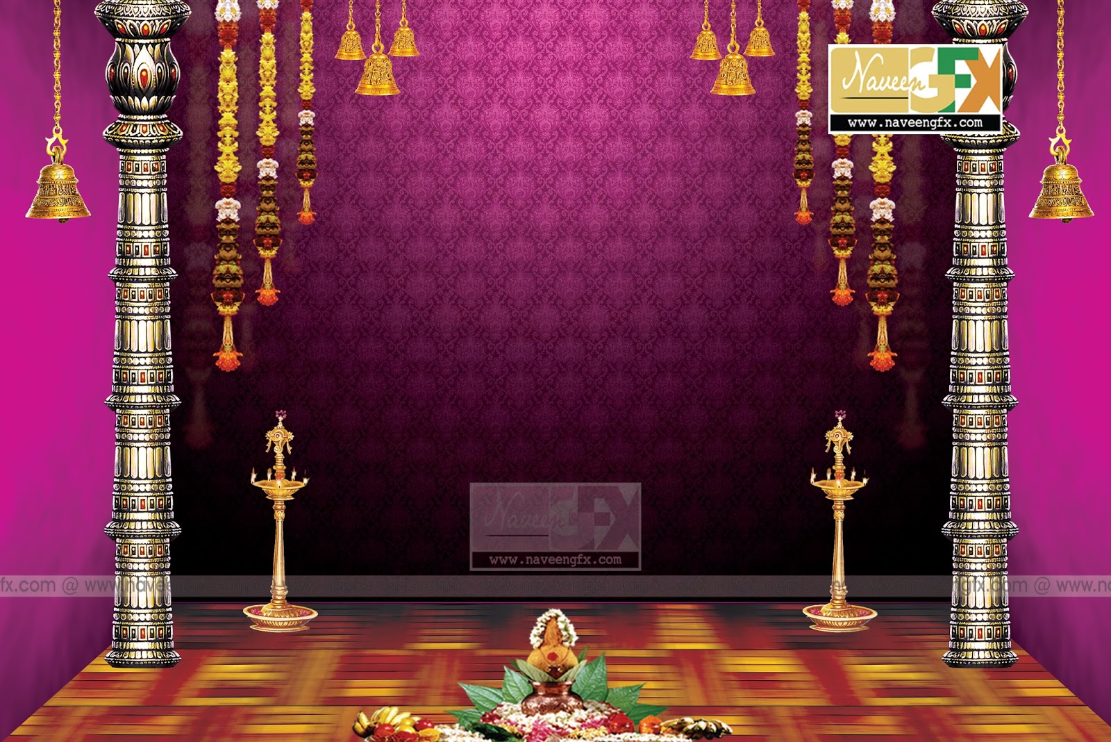 Vinayaka chavithi stage backdrop idea template naveengfx for Background decoration for ganesh festival