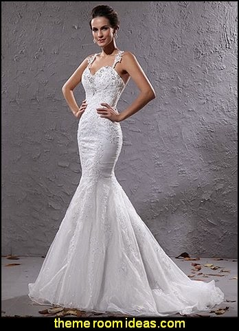 Crystal Dresses Women's Organza Court Train Mermaid Wedding Dresses