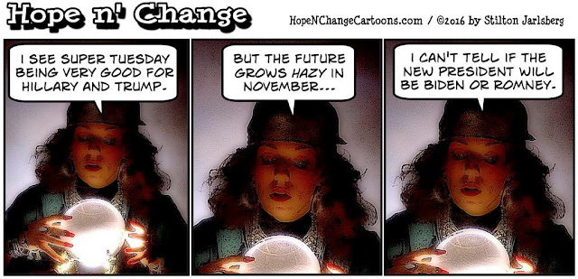 obama, obama jokes, political, humor, cartoon, conservative, hope n' change, hope and change, stilton jarlsberg, super tuesday, fortune teller, crystal ball