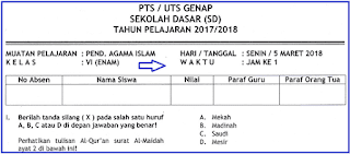 Soal UTS 2 PAI Kelas 6 SD/MI Terbaru dan Kunci Jawaban