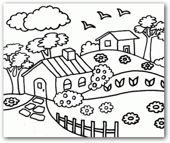Dibujos Para Colorear Paisajes Naturales Para Imprimir