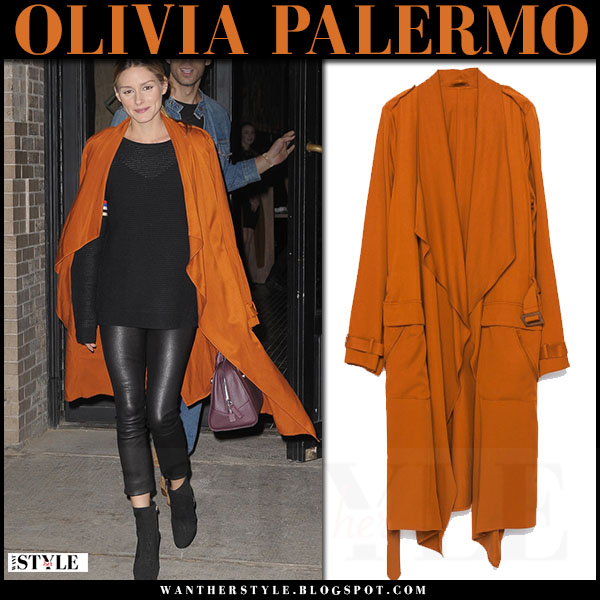Olivia Palermo in orange trench zara coat, black leather pants j brand edita and black ankle boots what she wore