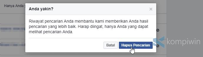 hapus pencarian facebook