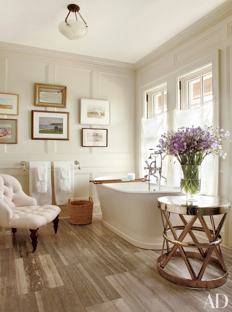Gorgeous bathroom in Hamptons designed by Carrier and Company - found on Hello Lovely Studio