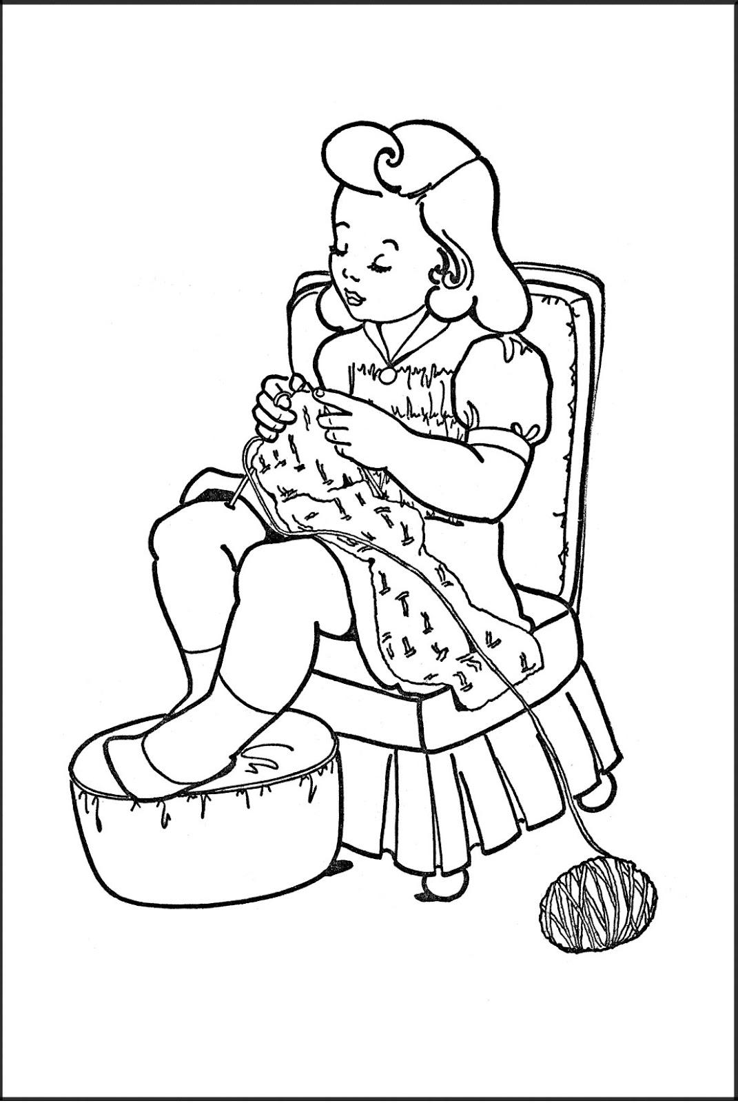classic art coloring pages   Husmorsskolan: Medan mamma stickar...