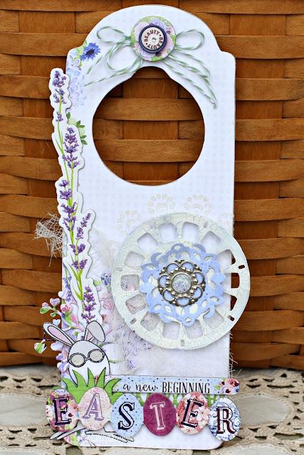 Easter Door Hanger Altered using Secret Garden papers and Eggcellent Stamp Set by BoBunny designed by Rhonda Van Ginkel