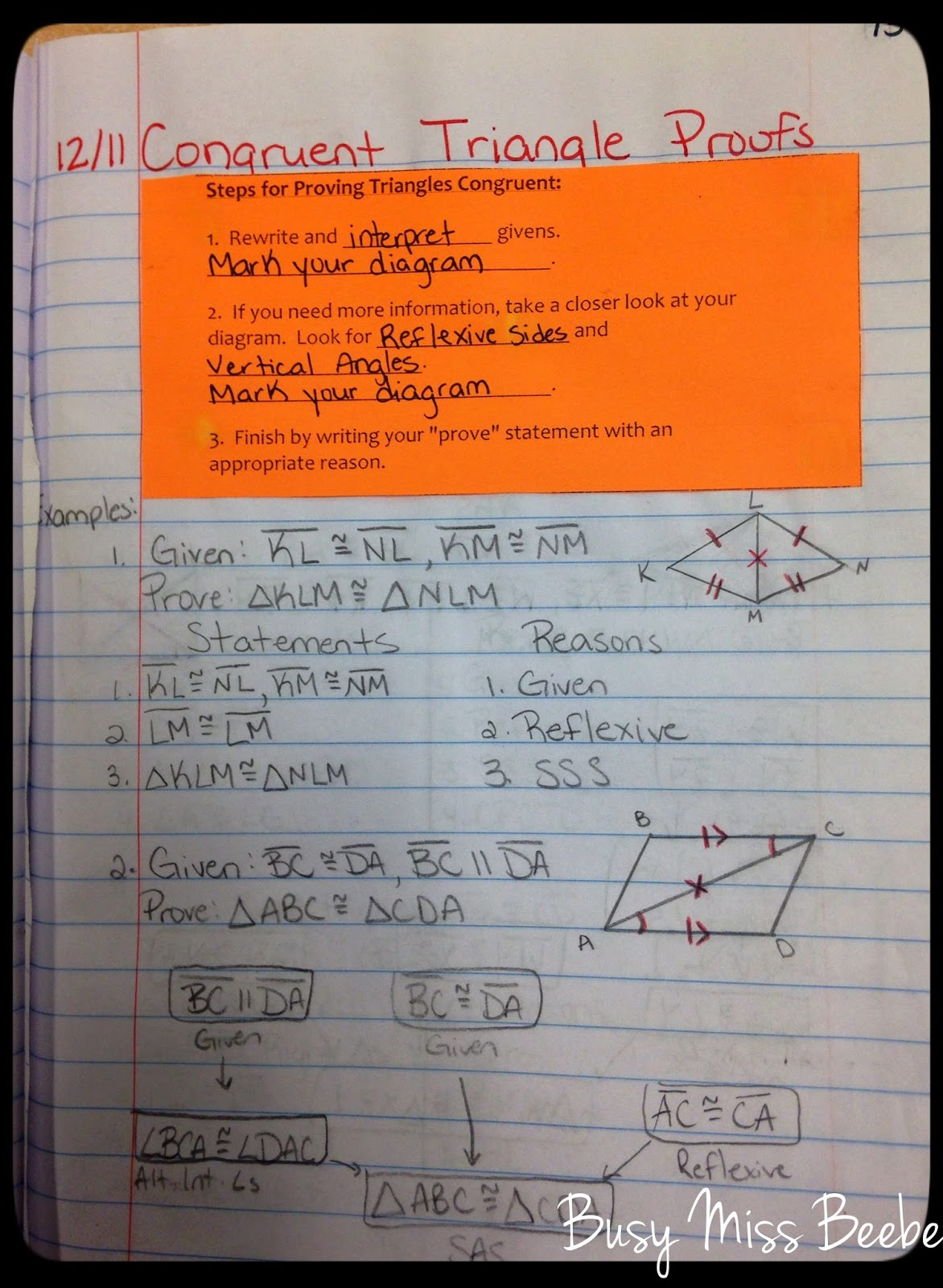 Busy Miss Beebe Geometry Inb Unit 5 Congruent