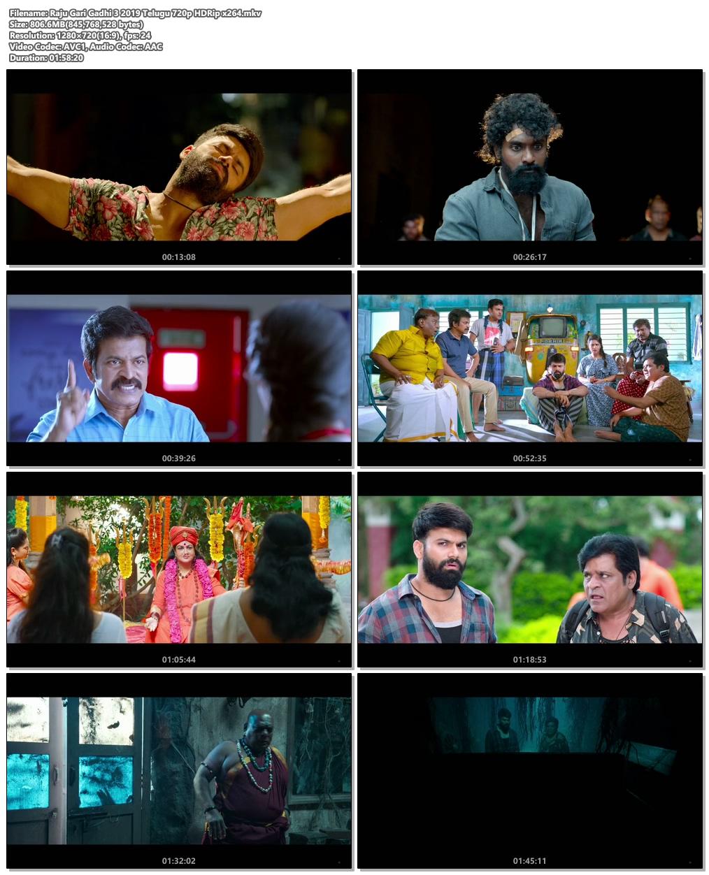 Raju Gari Gadhi 3 2019 Telugu 720p HDRip x264 | 480p 300MB | 100MB HEVC Screenshot